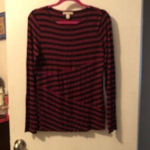 Dana Buchman Women's Maroon Black Striped Top